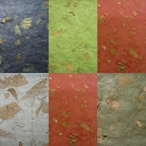 10 WHOLE SHEETS mulberry CRINKLE paper MANGO LEAF INCLUSIONS colour choice