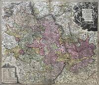 Johann Baptist Homann 1664-1724 Kupferstich Landkarte Rheinland-Pfalz Saarland