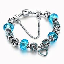 NEW Woman's/Girls Light Blue Crystal Silver Plated Charm Bracelet Crystal Heart