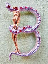 ERTE Initial B Signed Gold Sterling Silver Swarovski Crystals Art Pendant Brooch