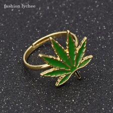 Women Men Creative Plants Jewelry Gift Maple Leaf Finger Ring fashion Enamel For