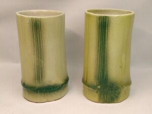 """SET 2 VINTAGE 5"""" BAMBOO SHOOT GREEN CERAMIC VASES HOME DECOR MADE BY TACEL INDIA"""