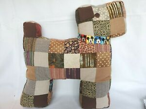PATCHWORK DOG PLUSH PILLOW Hand Made Cotton Fabric - Mickey Mouse Collar