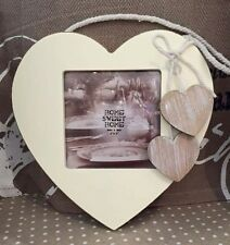Cream Heart Hanging Vintage Style Photo Picture Frame with Natural Wood Hearts