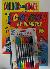 Colour By Numbers & Colour & Trace Colouring Book A4 size & Double Ended Pens