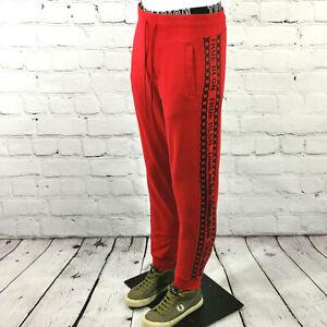 Men's True Religion Sweatpants in Red Black Cotton Joggers Track Lounge Pants