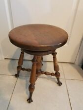 ANTIQUE VINTAGE PIANO ORGAN TURNING STOOL with BRASS CLAW & GLASS BALL FEET