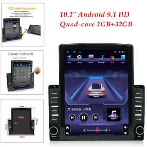 "1DIN Universal 10.1"" Android 9.1 GPS WIFI Quad-core 2+32GB Car Stereo Radio"