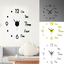 3D DIY Large Wall Clock Acrylic Stickers Watch Decor Living Room Quartz Modern