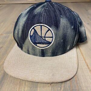 Golden State Warriors Mitchell & Ness SnapBack Hat Acid Wash Denim