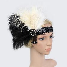 Vintage  Feather Flapper Headband Sequins Hairband Headdress Diamante Headpiece