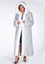 Womens Natural Blue White Fox Fur Coat with Hood Long Full Length Chevron Design