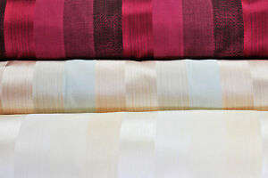 Striped curtain fabric, in copper, gold or red, by the metre