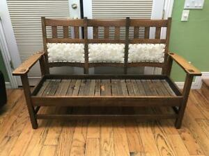 Antique STICKLEY BROS THREE SECTION SETTLE OR BENCH Nice Finish Looks Original