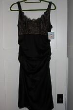 Suzi Chin For Maggy Boutique Black Lace Stretch Satin Dress Cocktail  Ruched  10