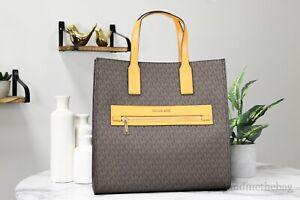 Michael Kors Kenly Marigold PVC Large NS Tote Shoulder Computer Handbag Purse