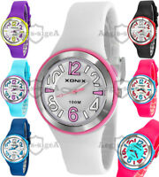 Analog XONIX wrist-watch for women and girls, quartz, silicone strap, WR100M