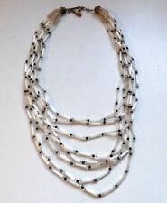 Vintage Art Deco Multi Strand Glass Bead Necklace White Black