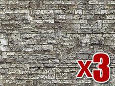 3 Hojas de Cut pared de Piedra de cartón - Vollmer 46035 - OO/HO Decoración