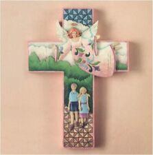 New: Jim Shore Hardwood Creek: Guardian Angel Hanging Wall Cross First Communion