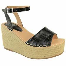 Womens Wedge Flatform Sandals Summer Mules Ankle Strappy Espadrille Summer Heels