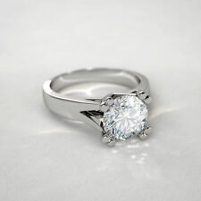 Certified 2.00ct Near White Moissanite Solitaire Engagement Ring 14k White Gold