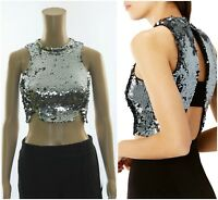 ex Coast Alice Silver Sequined Scallop Cut Out Back High Neck Party Crop Top