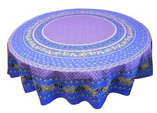 "LE CLUNY, OLIVES & MIMOSAS, BLUE, PROVENCE COATED COTTON TABLECLOTH, 70"" ROUND"