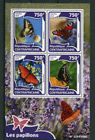 Central African Republic 2016 MNH Butterflies 4v M/S Insects Swallowtail Stamps
