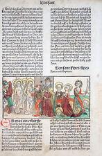 INKUNABEL BLATT ALTKOLORIERT HEILIGENLEBEN LEGENDA AUREA VORAGINE KOBERGER 1488