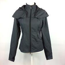 Lululemon Black White Pinstripe Removable Hood Jacket Womens Size 6