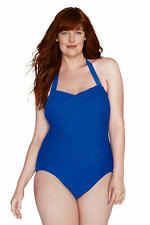LANDS' END Plus Size 26W Bright Sapphire Halter Style Slender Swimsuit NWT $134