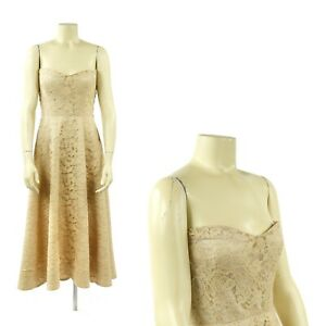 Vintage 50s Jo Copeland Pattullo Pale Gold Floral Sheer Lace Party Dress SM