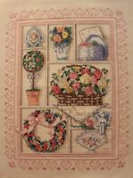 Victorian Shadowbox by Dimensions Roses Flowers Cross Stitch Completed Finished