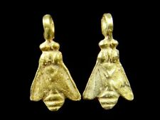 Wonderful! Lovely Pair Vintage Handmade 22K Gold PT Silver Egypt Queen Bee Bead