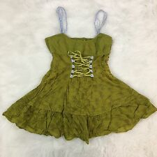 Free People Anthropologie Women's Sz 6 Top Corset Lace Up Green Boho Peasant