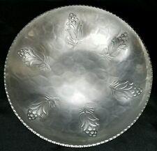 """Vintage Buenilum Hand Wrought Aluminum Floral Motif 9"""" Bowl"""