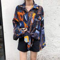 Women Korean Retro Long Sleeve Blouse Loose Shirt BF Tops 3D Printed BlouseFB