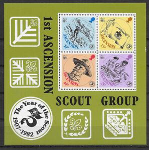 ASCENSION , 1982 , BOY SCOUTS , SOUVENIR SHEET , MNH