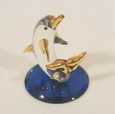 "Glass Baron Dolphin Figurine Gold Trim Fins Clear Blue 2"" Tall Mini Small"