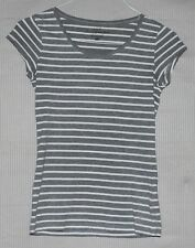 H&M LOGG Women's grey and white stripped t-shirt SIZE S US