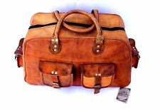 Men Large Genuine Vintage Leather Brown Travel Luggage Duffle Gym Bags Overnight