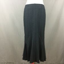 Frank Walder Charcoal Grey Flippy Wool Skirt Size 12 Lined