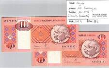 Two Tickets Angola - 10 Kwanzas 10/1999 - 2 Part Numbers Consecutive