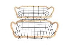 Set Rustic Metal Black Wire Rope Bread Fruit Veg Storage Display Basket Kitchen