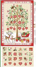 Traditional Christmas Advent Calendar Cotton Quilting Panel Fabric Makower 1797