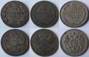 Russian Empire 10-15-20 Kopecks 1862-1925 Silver Coins Choice of Year