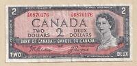 1954 $2 Bank of Canada Note Beattie Coyne T/B 6870176 - Fine