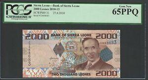Sierra Leone 2000 Leones 27-4-2010 P31 Uncirculated Graded 65
