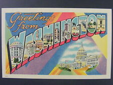 Greetings From Washington DC Large Letter Linen Postcard 1940s-50s Vintage